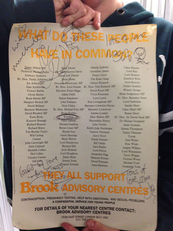A poster listing all the supporters of what were then known as, Brook Advisory Centres