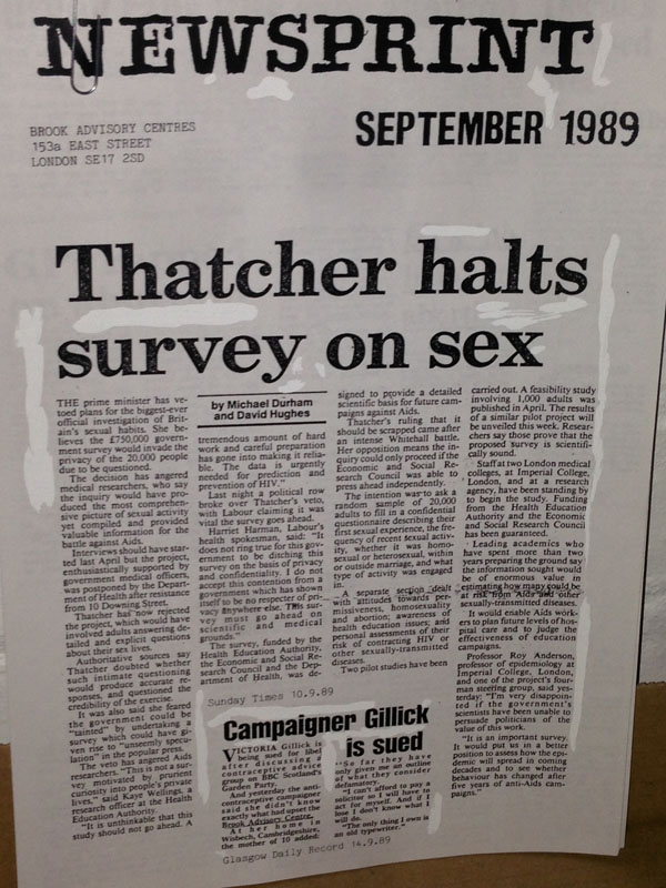 A news article from 1989 reporting on the fact that the Prime Minister had vetoed plans for Britain's biggest sex survey